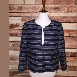 Ann Taylor LOFT Womens Zipper Jacket Blue  [357]